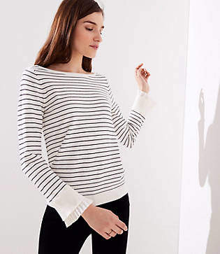 LOFT Petite Striped Pleated Bell Cuff Sweater