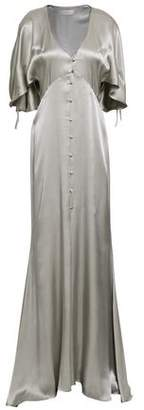 Les Héroïnes The Hedy Button-detailed Metallic Satin Gown