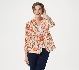 Susan Graver Printed Peachskin Blazer with Ruched Sleeves