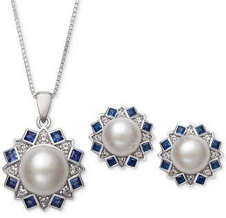 Macy's 2-Pc. Set Cultured Freshwater Pearl (7,mm, 9mm) and Cubic Zironcia Pendant Necklace and Stud Earrings Set in Sterling Silver