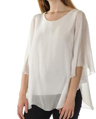 Black Sofia - White Silk Top