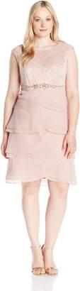 Jessica Howard JessicaHoward Women's Plus Size Beaded Waist Artichoke Dress