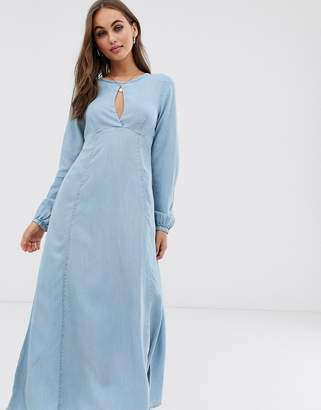 Asos Design DESIGN soft denim maxi dress with keyhole neck