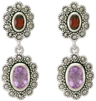 Suspicion Sterling Marcasite Oval Garnet & Amethyst Earrings