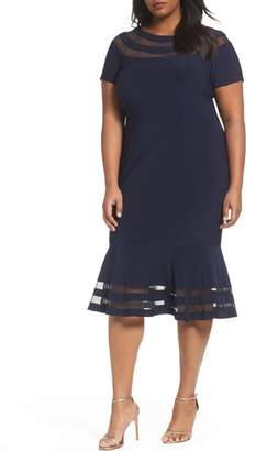 Xscape Evenings Shadow Stripe Flounce Hem Midi Dress
