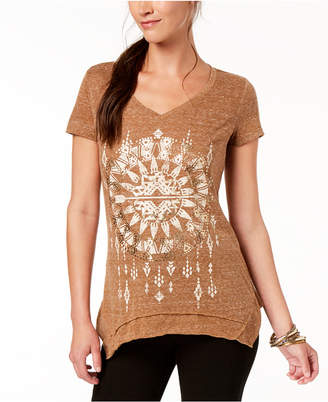 Style&Co. Style & Co V-Neck Metallic-Graphic T-Shirt, Created for Macy's