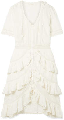 LoveShackFancy Bec Ruffled Crochet-trimmed Embroidered Cotton-voile Dress - White