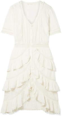 LoveShackFancy Bec Ruffled Crochet-trimmed Embroidered Cotton-voile Dress - White