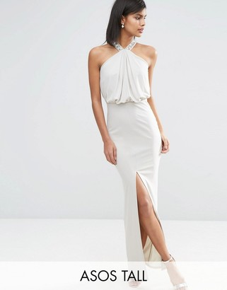 ASOS Tall ASOS TALL Halterneck Embellished Drape Front Maxi Dress $73 thestylecure.com