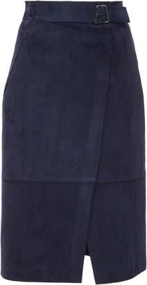 Akris Lamb Suede Wrap Skirt