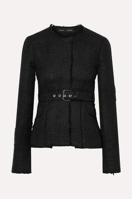 Proenza Schouler Belted Frayed Tweed Jacket - Black