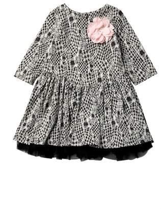 Pippa & Julie Black & White Print Dress (Toddler & Little Girls)