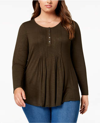 Style&Co. Style & Co Plus Size Pintuck Top