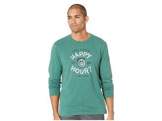 Life is Good Why Limit Happy Hour? Crusher Long Sleeve T-Shirt