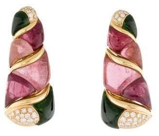 Bvlgari 18K Tourmaline & Diamond Clip-On Earrings