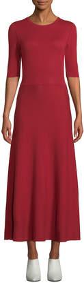 Gabriela Hearst Seymore Elbow-Sleeve Crewneck Reversible Cashmere-Wool Mid-Calf Dress