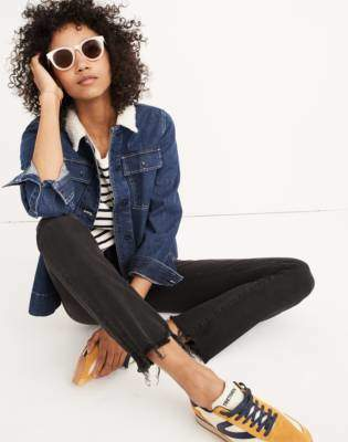 Madewell Petite Cali Demi-Boot Jeans in Berkeley Black: Chewed-Hem Edition
