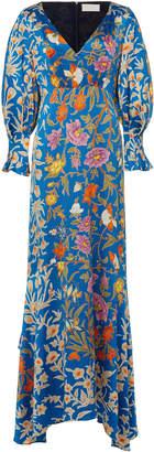 Peter Pilotto Floral-Print Balloon-Sleeve Silk-Satin Gown