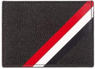 Thom Browne Stripes Pebbled Leather Card Holder