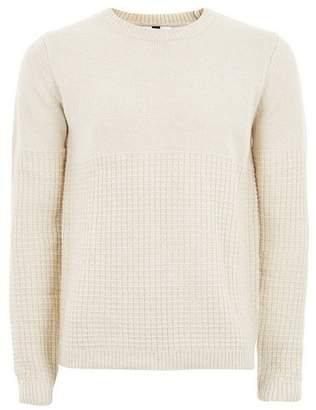 Topman Mens Stone And White Twist Grid Sweater