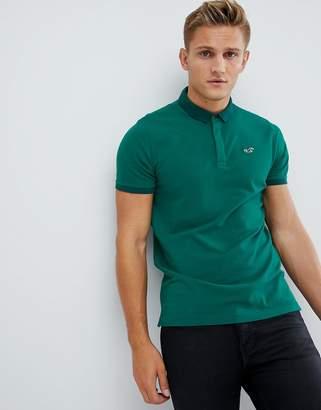 Hollister Modern Tonal Collar Icon Logo Pique Polo in Green