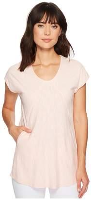 Mod-o-doc Micro Stripe Diagonal Seamed T-Shirt w/ Pockets Women's T Shirt