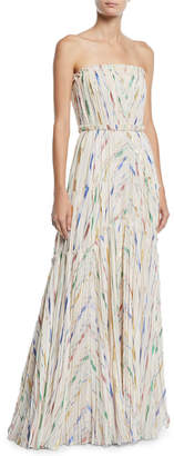 J. Mendel Strapless Pleated Brushstroke Silk Gown