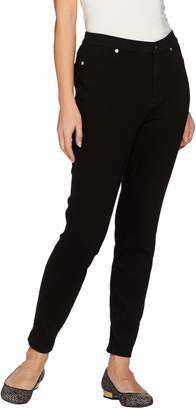 Isaac Mizrahi Live! Regular Knit Denim Ankle Jeans w/ Zipper Detail