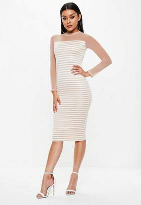Missguided Pink Mesh Stripe Long Sleeve Midi Dress