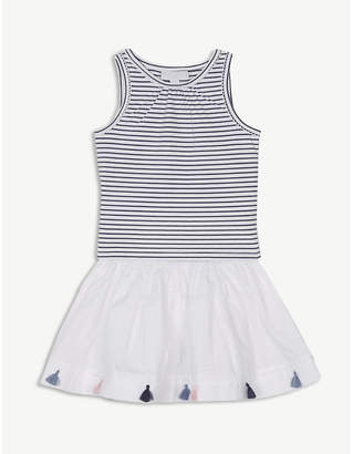 The Little White Company Striped top and tassel skirt cotton set 1-6 years