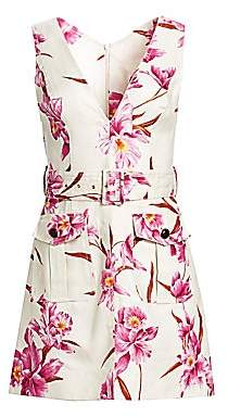 Zimmermann Women's Corsage Orchid-Print Linen Safari Dress