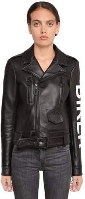 "Off-White ""Biker"" Printed Leather Biker Jacket"