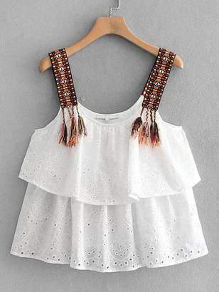 Shein Eyelet Embroidery Tassel Cami Top