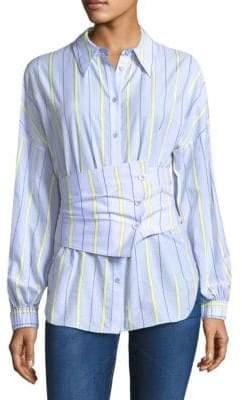 Tibi Corset Belted Oxford Shirt