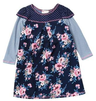 Pink Vanilla Long Sleeve Flower, Stripes & Polka Dot Dress (Toddler & Little Girls)
