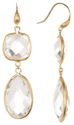 Rivka Friedman 18K Gold Clad Bold Rock Crystal Double Dangle Earrings