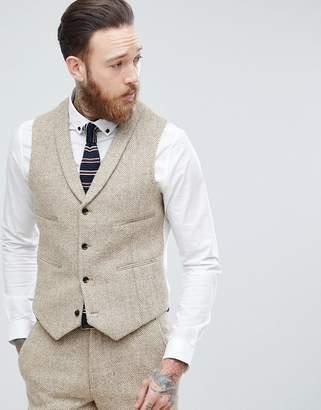 Asos Slim Suit Waistcoat In 100% Wool Harris Tweed In Taupe Herringbone