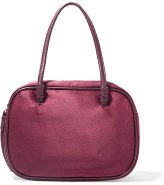 Elizabeth and James Dorina Leather-trimmed Satin Tote - Burgundy