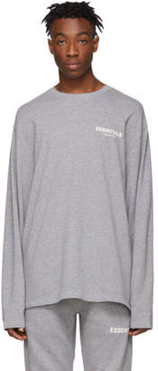 Essentials Grey Logo Long Sleeve T-Shirt