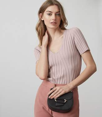 Reiss ASTER RIBBED-KNIT SHORT SLEEVED TOP Ash Pink