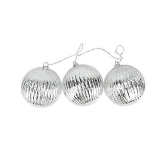 Asstd National Brand Set of 3 Lighted Silver Mercury Glass Finish Ribbed Ball Christmas Ornaments - Clear Lights