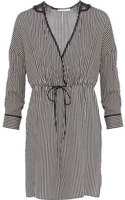 Halston Embroidered Chiffon-Paneled Striped Poplin Mini Dress