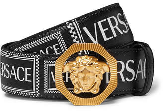 Versace 3.5cm Logo-Print Textured-Leather Belt - Men - Black