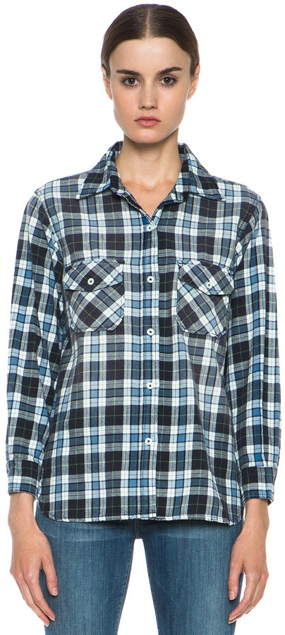 Current/Elliott Cotton Perfect Shirt in Trestles with Repair