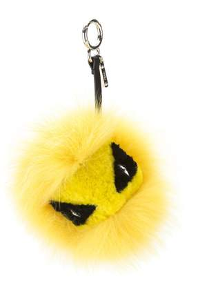 Fendi Cedar Yellow Mixed Fur Eye Tria Key Charm (New with Tags)
