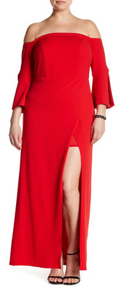 ABS by Allen Schwartz Off-The-Shoulder Bell Sleeve Gown (Plus Size) $410 thestylecure.com