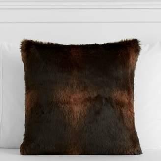 Pottery Barn Teen Faux-Fur Pillow Cover, 18x18, Brown Bear
