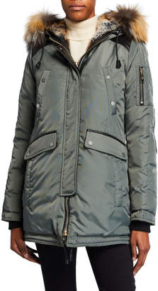Nicole Benisti Melrose Puffer Coat w/ Detachable Fur Trim