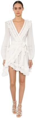 Zimmermann Moncur Short Ruffled Silk Wrap Dress