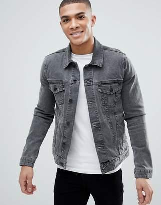 Asos DESIGN skinny denim jacket in gray
